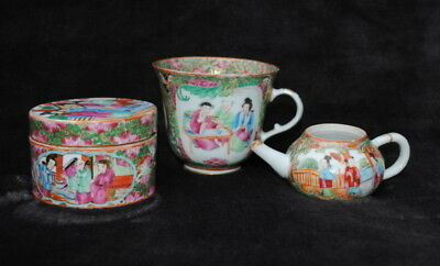 3 19Th Century Chinese Hand Painted Famille Rose Small Teapot Pot  Cup