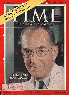 Autographed Time Cover 1955, Dr. Irvine Page, Heart Specialist
