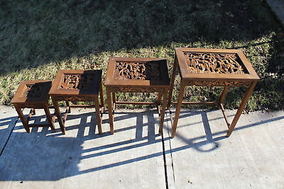 Vintage Chinese Asian Wood Carved Nesting Tables-4 Tables-Men Women Carved Scene