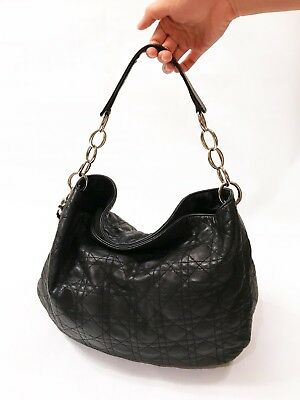 fb7f5e981d9b Christian Dior Lady Cannage Quilted Black Lambskin Hobo Bag - 100% Authentic