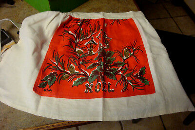 Vintage KITCHEN Apron Mid Century Christmas Noel Holley Pinecones Gaslight Nice