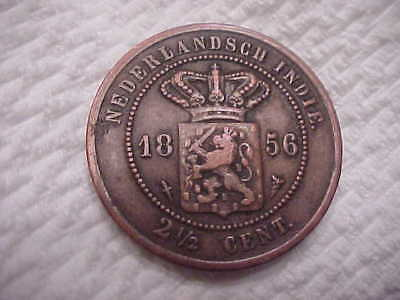 Netherlands Indie Copper  2-1/2 Cent  Coin 1856  - High Grade