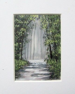 Original The Forest Track Landscape Miniature Aceo Painting