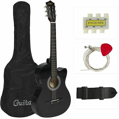 Best Choice Products 38in Beginners Acoustic Electric Cutaway Guitar Set w/ Case
