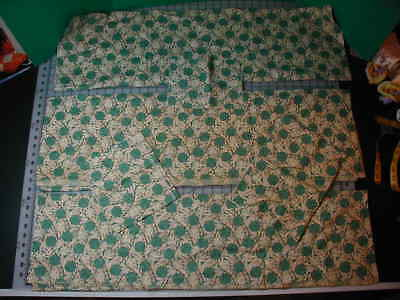 """Vintage 36"""" Wide Fabric Green Pink Black 6 Pieces 5+ Yards"""