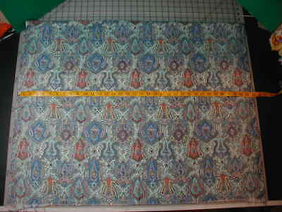 """Vintage 35"""" Wide Paisley Blue Green Rust Print Cotton Fabric 1 ½ Yards"""