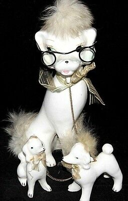 """VTG Fur-Trimmed White Ceramic Poodles, Dog & 2 Puppies on Chain, 8"""" Tall JAPAN"""