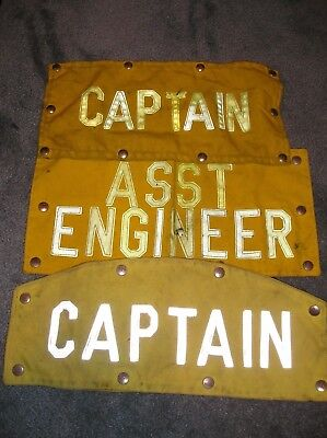 Lot of 3 used Firefighter Turnout Gear Patches Asst Engineer, x2 captain