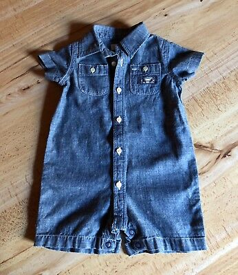 Ralph Lauren Baby Boy'S Blue Chambray Romper, 3M, New With Tags