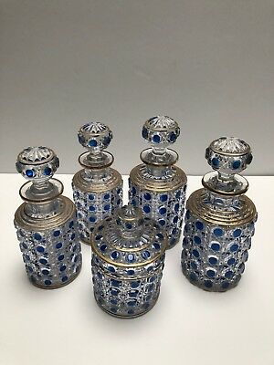 Baccarat Set Of 5 Hand Cut Blue With Gold Round Perfume Bottles Signed