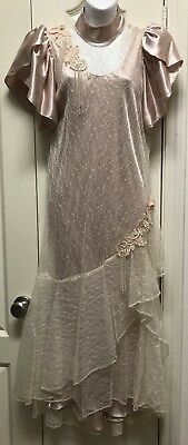 Vintage CACHET BARI PROTAS Lace Satin Look Flapper 1980's 1920's Inspired 6 7