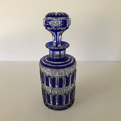 Baccarat Hand Carved Cobalt Blue Cut To Clear Round Perfume Bottle