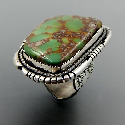 Handcrafted Sterling Silver Magnificent Green American Turquoise Massive Ring
