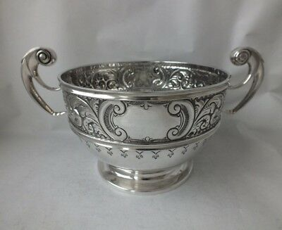 Antique Victorian Chester 1900 Solid Sterling Silver Bowl/ Dia 14.1 cm/ 412 g