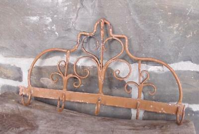 ANTIQUE 18th EARLY 19th C DECORATED WROUGHT IRON GAME UTENSIL RACK PRIMITIVE