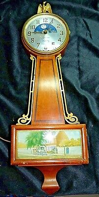 Vintage Sessions Moon Phase Face Electric Banjo Wall Clock Works Keeps Time USA