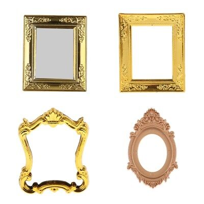 4pieces 1:12 Golden Frame Mirror Rahmen Dolls House Miniatures Beroom Decor