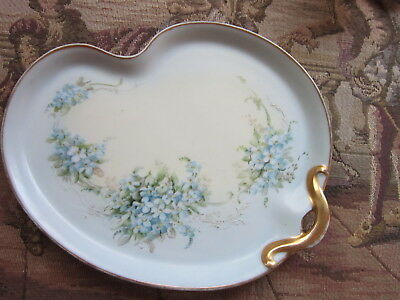 """Vint Markd Gda France H. P.  Forget Me Not Dresser Tray 8 1/2"""" X 6 3/4"""""""