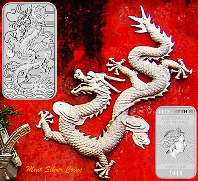 2 x 1 oz. 9999 Silver Bars ...2018 CHINESE RECTANGLE DRAGON ... #1