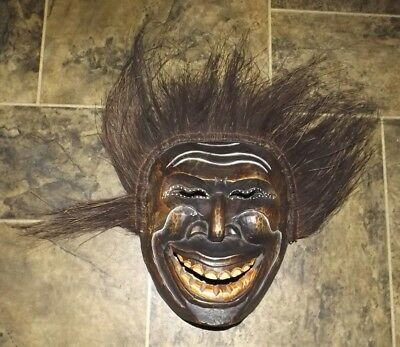 Tribal Mask Wooden Handmade Painted Carved Vintage With Hair