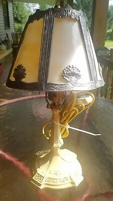 Vintage Metal and slag glass art nouveau desk lamp