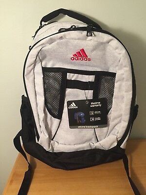 b7318b9799 NWT ADIDAS ATKINS LARGE CAPACITY BACKPACK SCHOOL BOOK BAG Gray White Black  Mesh
