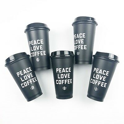 Starbucks Peace Love Coffee 16oz Reusable Black Coffee Cups W/Lids Set Lot Of 5