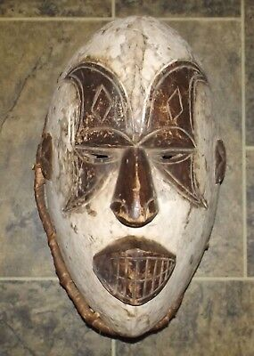 Large Tribal Mask Wooden Handmade Painted Carved Vintage Butterfly Eyes