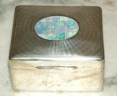 Antique Art Deco Sterling Silver 925 Cedar Lined Cigarette Box with Opal Inlay