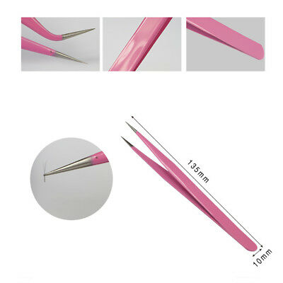 1Pc Pink Stainless Steel Straight Curved Eyelash Extension Tweezers Nippers