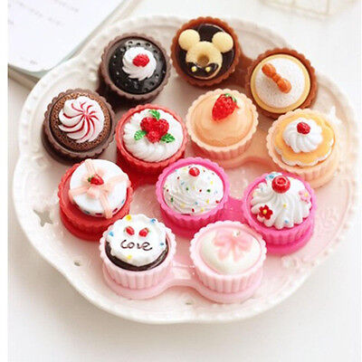 Portable Cartoon Cake Cream Shape Contact Lens Case Box Set Container