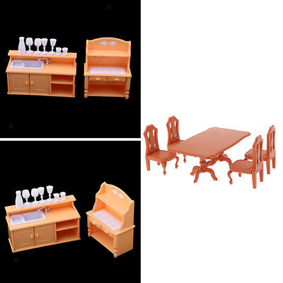 1/12 Miniature Doll House Dining Room Furniture Kit Plastic Table Chair Set