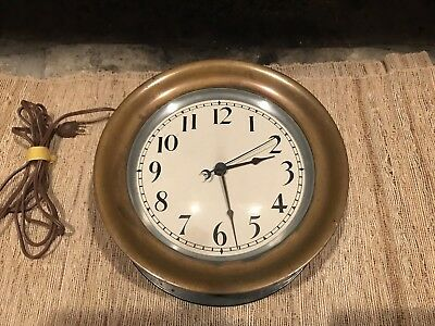 """Vintage Stromberg Circa 1915 Large 10"""" Heavy Brass Ship Wall Mount Clock  Works"""