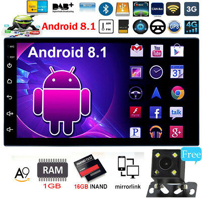2Din Android 8.1 Car Stereo MP5 Player 7In 4-Core GPS Navi AM FM Radio WiFi+Cam