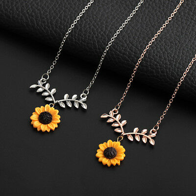 Women Sunflower Leaf Branch Pendant Clavicle Necklace Jewelry Birthday Gift tall