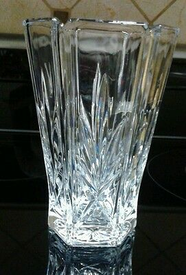 Vintage Gorham? Lead Cut Crystal Vase, Pineapple Leaves and Criss Cross Design