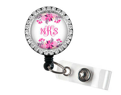 Monogram Bling Badge Reel Badge Holder With Pink Floral Accents, 603S