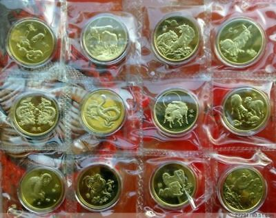 Lot of 12Pcs China Lunar Zodiac Coins Medal Fine Copper 1996's~2007's,UNC,Rare