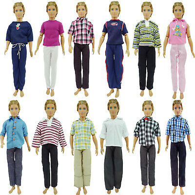 Random 2 Outfits Jeans Pants Checked Striped Shirt Clothes For 12 in. Ken Doll