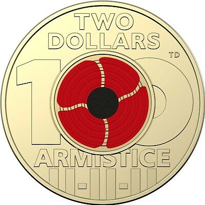 2018 Remembrance Day - Armistice Centenary $2 Coloured Coin - From Mint Bag (#5)