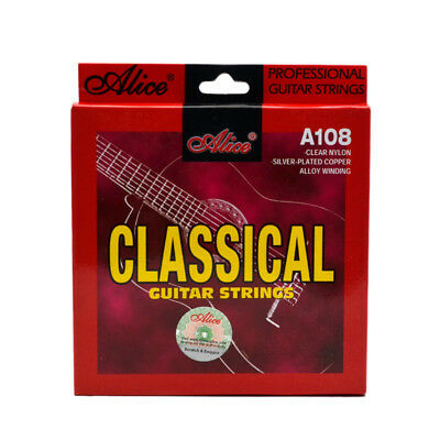 1X(Alice Classical Guitar Strings Set 6-String Classic Clear Nylon Silver PlaH9)