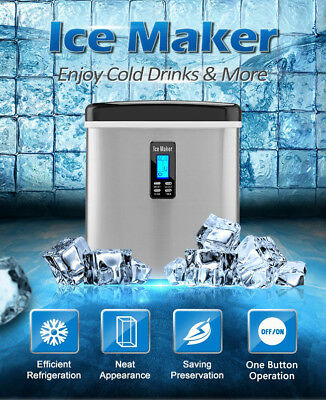 Silver 3.2L Portable Ice Cube Maker Machine Commercial Automatic Home Fast! NEW