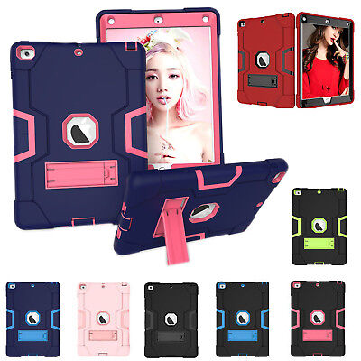 For Apple iPad 9.7 Inch 2018 6th Gen Shockproof Rubber Hard Kickstand Case Cover
