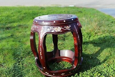 Vintage  CHINESE   wood  drum shape garden stool  Mother of pearl 17 Inches tall