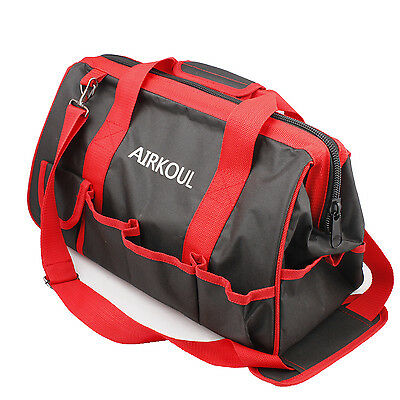 """15"""" Large Tool Bag Red & Black Wide Mouth Collapsible Genuine Contractor Garden"""