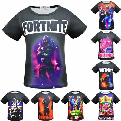 Kids Fortnite Short Sleeves T-shirts Inspired PS4 Xbox Gaming Boys Cotton Tops