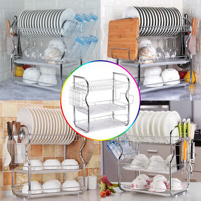 Toplife 3 Tier Dish Rack Basics Drainer Chrome Cup Drying Kitchen Stainless New