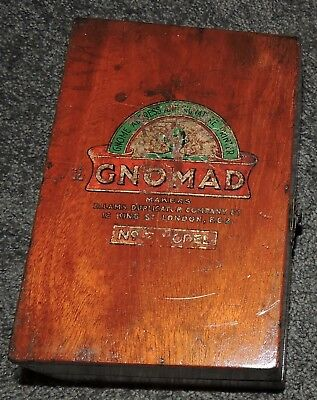 Vintage Rare Hinged Wood Fitted Box London England Dovetail Joints Gnome Ellams
