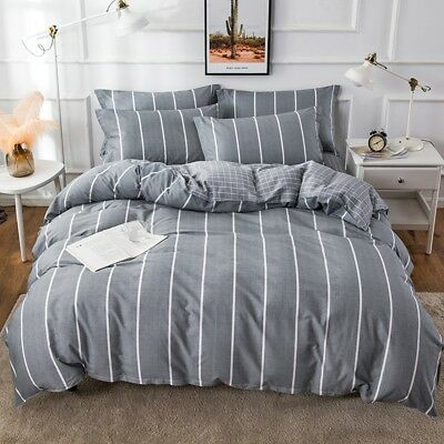 Gray Striped Doona Quilt Duvet Cover Set Single Double Queen King Size Bed Cover