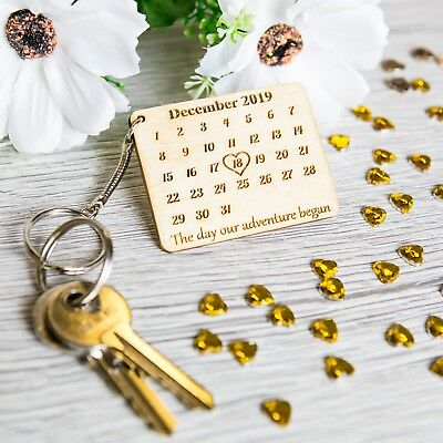 Personalised Wooden Valentine Keyring Calendar The Day You Became.. Novelty Gift